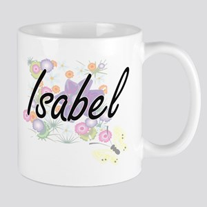 Isabel Artistic Name Design with Flowers Mugs
